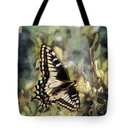 Butterfly On Yellow Flowers Tote Bag
