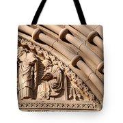 Carved Stone Biblical Mural Above Catholic Cathedral Doorway Tote Bag