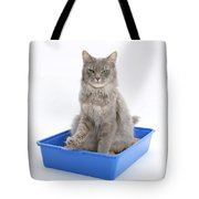 Cat Using Litter Tray Tote Bag