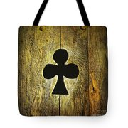 Clover Shape Cut Out Of Wooden Door Tote Bag