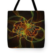 Computer Generated Yellow Vortex Abstract Fractal Flame Art Tote Bag
