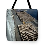 Crew Aboard The Amphibious Assault Ship Tote Bag
