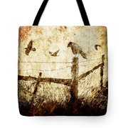 Crows And The Corner Fence Tote Bag