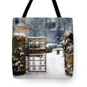 Decorative Iron Gate In Winter Tote Bag