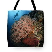 Diver Over Soft Coral Seascape Tote Bag