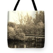 Dock On The River In Sepia Tote Bag