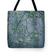 Dogwood Blossoms In A Foggy Forest Tote Bag