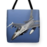Dutch F-16am During A Combat Air Patrol Tote Bag