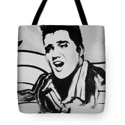 Elvis In Black And White Tote Bag