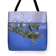 Frog Jumps Into Water Tote Bag