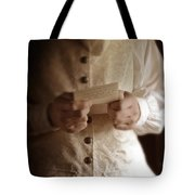 Gentleman In Vintage Clothing Reading A Letter Tote Bag