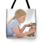 Girl Grooming Kitten Tote Bag