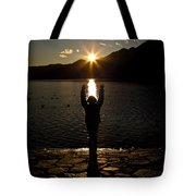 Girl With Sunset Tote Bag