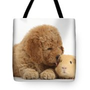 Goldendoodle Puppy And Guinea Pig Tote Bag