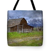 Grand Teton Iconic Mormon Barn Fence Spring Storm Clouds Tote Bag