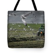 Gull Chased Tractor Tote Bag