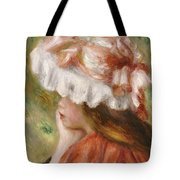 Head Of A Young Girl In A Red Hat  Tote Bag