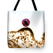 Hiv Budding Out Of Immune Cell, Tem Tote Bag by Science Source