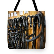 Horse Bridles Hanging In Stable Tote Bag by Elena Elisseeva