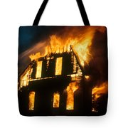 House On Fire Tote Bag by Photo Researchers, Inc.