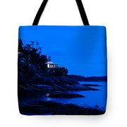 Illuminated Cabin In The Dark At The Seaside Tote Bag