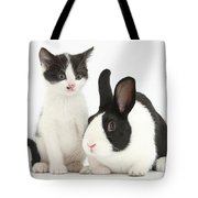 Kitten And Dutch Rabbit Tote Bag