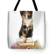 Kitten On Packages Tote Bag