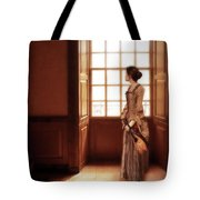 Lady In 16th Century Clothing With A Mandolin Tote Bag