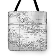 Map Of The West Indies Florida And South America Tote Bag