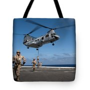Marines Fast Rope On To The Flight Deck Tote Bag