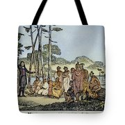 Missionary And Native Americans Tote Bag