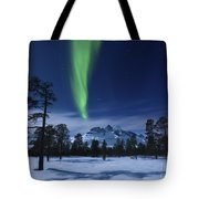 Moonlight And Aurora Borealis Tote Bag