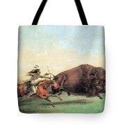 Native American Indian Buffalo Hunting Tote Bag