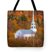 New England Church In Autumn Tote Bag