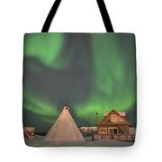 Northern Lights Above Village Tote Bag