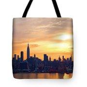 Ny Skyline Sunrise Gold Tote Bag