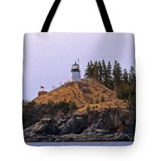 Owls Head Lighthouse Tote Bag by Skip Willits