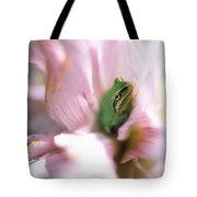 Pacific Tree Frog In A Dahlia Flower Tote Bag by David Nunuk