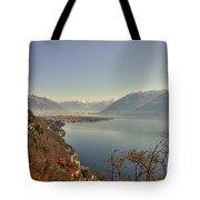 Panoramic View Over A Lake Tote Bag