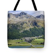 Panoramic View Over Mountain Tote Bag