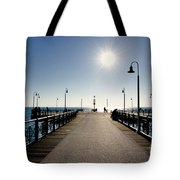 Pier In Backlight Tote Bag