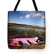 Pink Boat In Scenic Saskatchewan Tote Bag