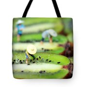 Planting Rice On Kiwifruit Tote Bag