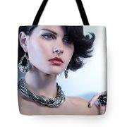 Portrait Of A Beautiful Woman Wearing Jewellery Tote Bag