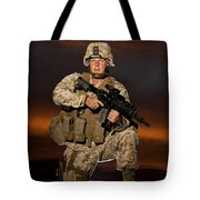 Portrait Of A U.s. Marine In Uniform Tote Bag