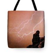 Praying Monk Camelback Mountain Lightning Monsoon Storm Image Tx Tote Bag