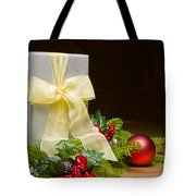 Present Decorated With Christmas Decoration Tote Bag