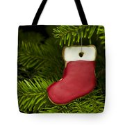 Present Sock Shape Short Bread Cookie In Christmas Tree Tote Bag