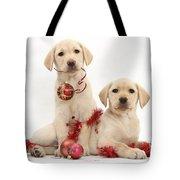 Puppies At Christmas Tote Bag
