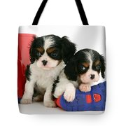 Puppies With Rain Boots Tote Bag by Jane Burton